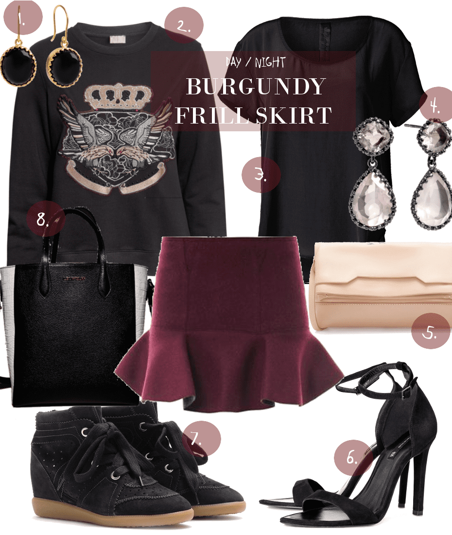 BURGUNDY FRILL SKIRT // DAY VS. NIGHT