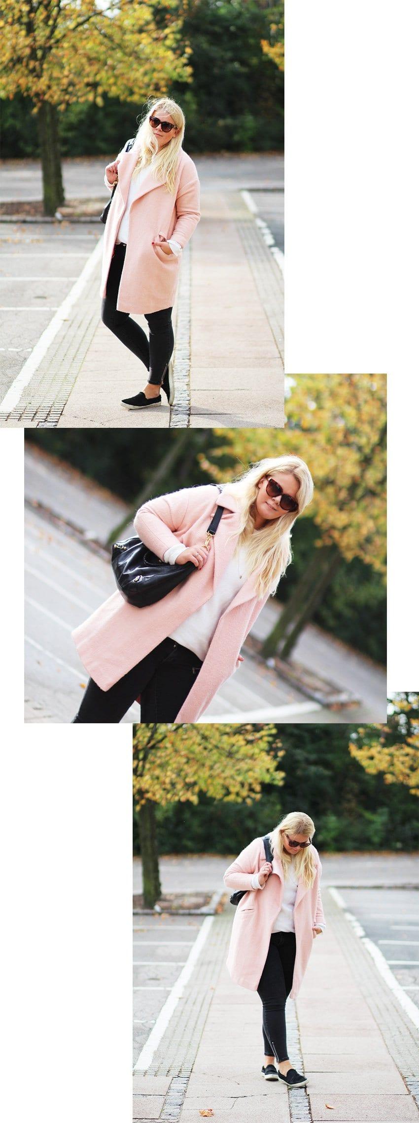 OUTFIT <i>- grå jeans fra Gina Tricot & lyserød ASOS frakke</i>