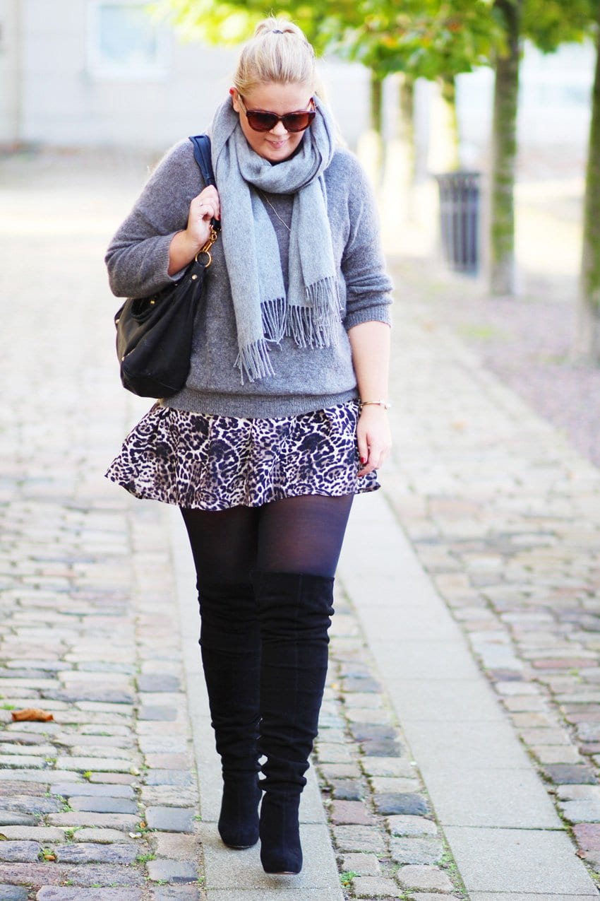 OUTFIT <i>- over-the-knee boots & leopard skirt</i>