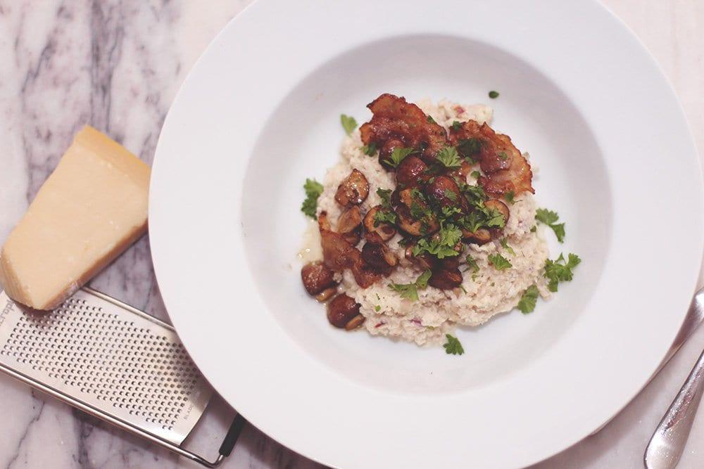 OPSKRIFT - Blomkålsrisotto med svampe og bacon..
