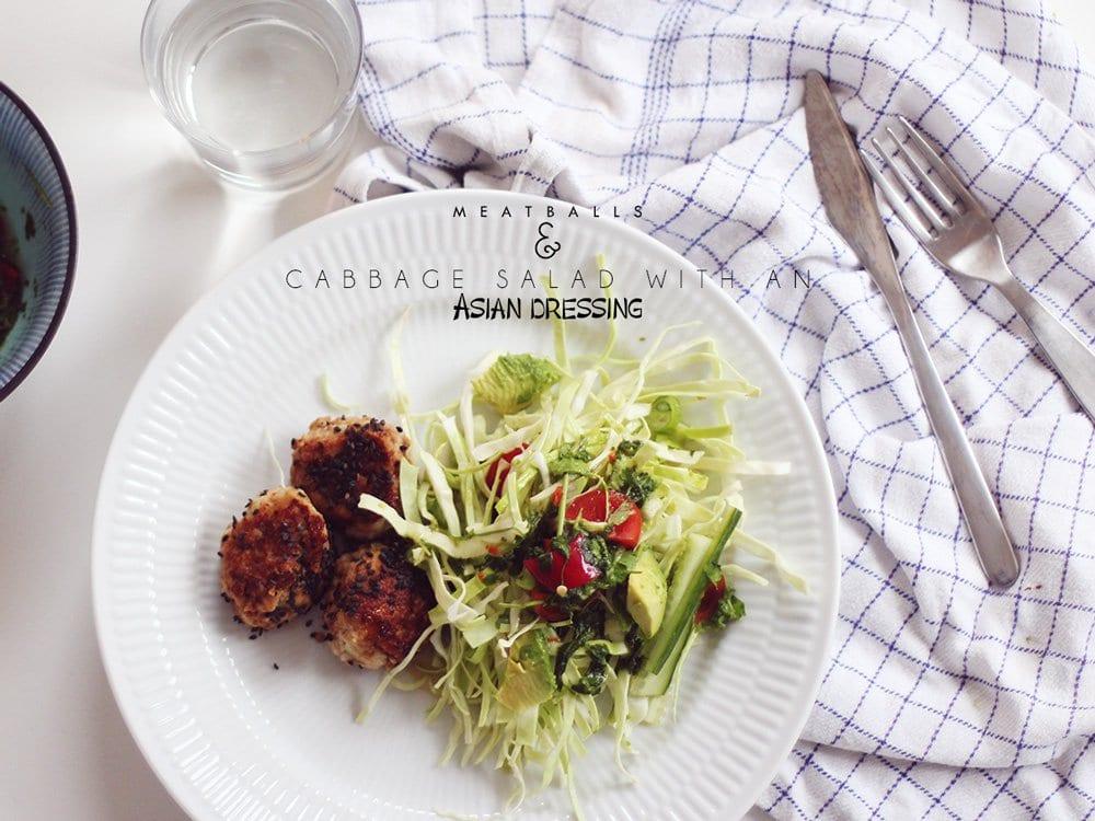 OPSKRIFT - kødboller og salat med asiatisk dressing..