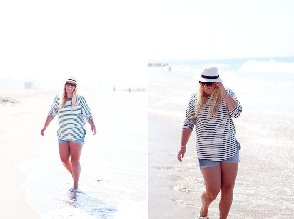 malibu-beach-roadtrip-denimshorts-H&M-stribet-sweatshirt-og-panamahat