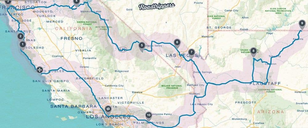 Ruteplan-californien-roadtrip